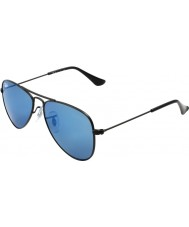 RayBan Junior RJ9506S 50 Aviator Matte Black 201-55 Blue Mirror Sunglasses