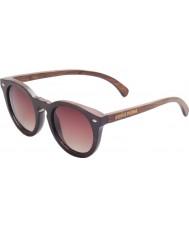 Swole Panda Charcoal Polarized Bamboo Round Sunglasses