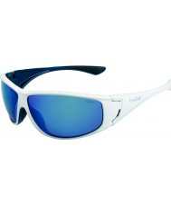 Bolle Highwood Shiny White Blue Polarized Offshore Blue Sunglasses