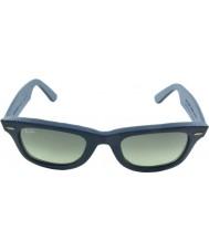 RayBan RB2140QM 50 Wayfarer Leather Used Leather Blue 116871 Sunglasses