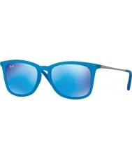 RayBan Junior RJ9063S 48 Azure Fluo Transparent Rubber 701155 Mirror Sunglasses