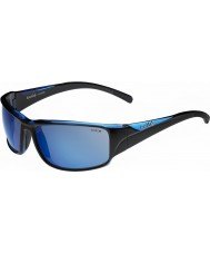 Bolle Keelback Shiny Black Blue Polarized Offshore Blue Sunglasses
