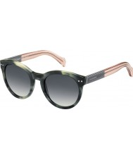 Tommy Hilfiger Ladies TH 1291-N-S MBR 9O Green Havana Pink Sunglasses