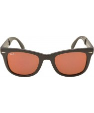 RayBan RB4105 50 Folding Wayfarer Matte Black 601S2K Dark Red Mirrored Sunglasses