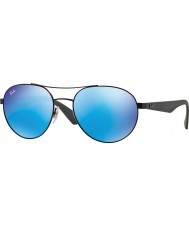 RayBan RB3536 55 Highstreet Matte Black 006-55 Blue Mirror Sunglasses