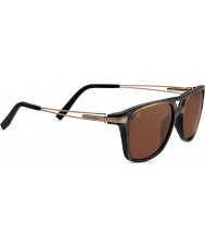 Serengeti Empoli Brown Frost Fade Satin Gold Polarized Drivers Sunglasses