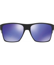 Oakley OO9350-04 TwoFace XL Polished Black - Violet Iridium Sunglasses