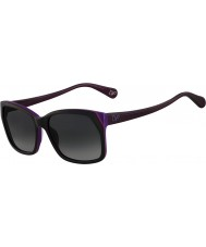 DVF Ladies DVF571S Darcee Black and Purple Sunglasses