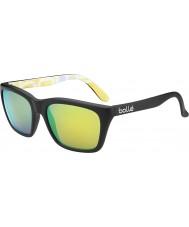 Bolle 527 Retro Collection Matt Black Graphics Polarized Brown Emerald Sunglasses