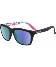 Bolle 527 Retro Collection Matt Black Graphics Polarized Blue-Violet Sunglasses