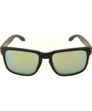 Oakley OO9102-50 Holbrook Matte Black -  Emerald Iridium Polarized Sunglasses
