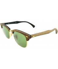 RayBan RB3016M 51 Clubmaster Wood Walnut Rubber Green 11824E Sunglasses
