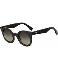 Fendi Ladies FF 0196-S LC1 HA Havana Black Sunglasses