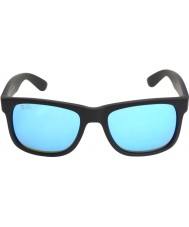 RayBan RB4165 51 Justin Black Rubber 622-55 Blue Mirror Sunglasses