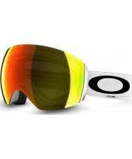 Oakley 59-713 Flight Deck Matte White - Fire Iridium Ski Goggles