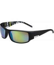 Bolle King Matt Black Lime Zebra Polarized Brown Emerald Sunglasses