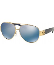 Michael Kors MK5012 59 Tabitha II Gold Blue Glitter 106922 Blue Mirror Polarized Sunglasses