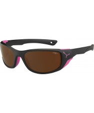 Cebe Jorasses Medium Matt Black Pink 2000 Brown Flash Mirror Sunglasses