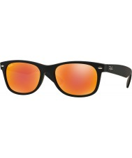 RayBan RB2132 52 New Wayfarer Rubber Black 622-69 Red Mirror Sunglasses