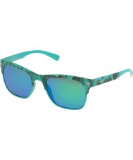 Police Mens Game 2 S1950-GEEV Semi Matt Turquoise Camouflage Polarized Sunglasses
