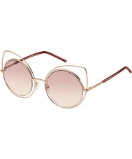 Marc Jacobs Ladies MARC 10-S TZF 05 Rose Gold Burgundy Sunglasses