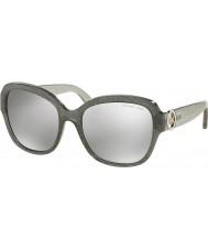 Michael Kors MK6027 55 Tabitha III Grey Glitter 30986G Silver Mirror Sunglasses