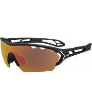 Cebe S-Track Mono Large Matt Black 1500 Grey Mirror Orange Sunglasses with Clear Replacement Lens
