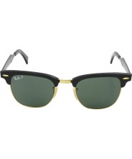 RayBan RB3507 49 Clubmaster Aluminum Black Arista 136-N5 Polarized Sunglasses