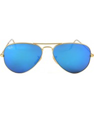 RayBan RB3025 58 Aviator Large Metal Matte Gold 112-17 Mirrored Sunglasses