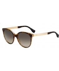 Fendi Logo FF 0078-S DVO HA Havana Gold Sunglasses