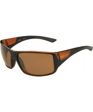 Bolle Tigersnake Shiny Black Matte Brown Polarized Sandstone Gun Sunglasses