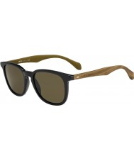 HUGO BOSS Mens BOSS 0843-S RBG EC Black Brown Sunglasses