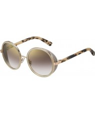 Jimmy Choo Ladies Andie-S J7A NH Gold Nude Havana Gold Mirror Sunglasses