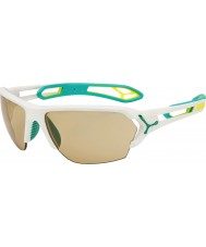 Cebe S-Track Large Matt White Turquoise Variochrom Perfo Sunglasses with 500 Clear Replacement Lens