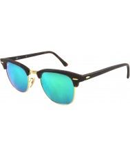 RayBan RB3016 51 Clubmaster Sand Tortoiseshell-Gold 114519 Green Mirror Sunglasses