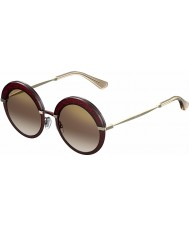 Jimmy Choo Ladies Gotha-S 65L QH Burgundy Gold Mirror Sunglasses