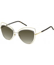 Marc Jacobs Ladies MARC 8-S APQ HA Gold Dark Havana Sunglasses
