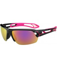 Cebe S-Track Medium Shiny Black Magenta 1500 Grey Mirror Pink Sunglasses with Clear Replacement Lens