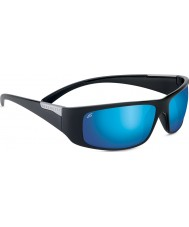 Serengeti Fasano Shiny Black Polarized PhD 555nm Blue Mirror Sunglasses