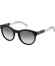 Tommy Hilfiger Ladies TH 1291-S G6P EU Black Ivory Crystal Sunglasses
