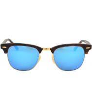 RayBan RB3016 51 Clubmaster Sand Tortoiseshell-Gold 114517 Blue Mirror Sunglasses