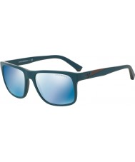 Emporio Armani EA4071 56 Essential Leisure Matte Petroleum 550855 Blue Mirror Sunglasses