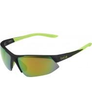Bolle Breakaway Matt Black Lime Brown Emerald Sunglasses