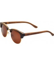 Swole Panda Brown Polarized Bamboo Clubmaster Sunglasses