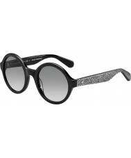 Kate Spade New York Ladies Khrista-S S2J O0 Black Silver Glittery Sunglasses