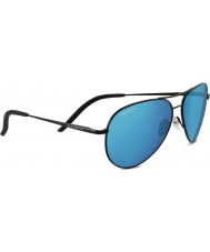 Serengeti Carrara Shiny Black Polarized 555nm Blue Sunglasses
