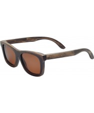 Swole Panda Dark Brown Polarized Bamboo Wayfarer Sunglasses