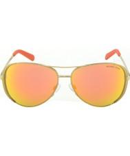 Michael Kors MK5004 59 Chelsea Gold Orange 10146Q Mirrored Sunglasses