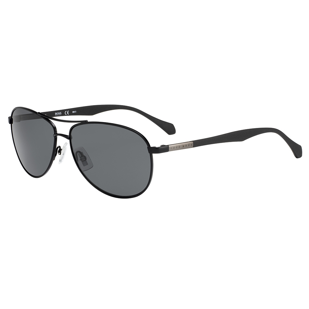 HUGO BOSS Mens BOSS 0824-S YZ2 6E Matte Black Sunglasses 9b1a21f0daec