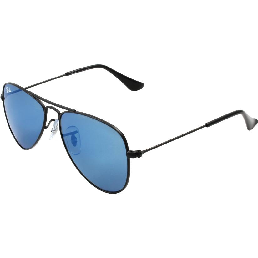 fb3d93cfb6cf5 RayBan Junior RJ9506S 50 Aviator Matte Black 201-55 Blue Mirror Sunglasses
